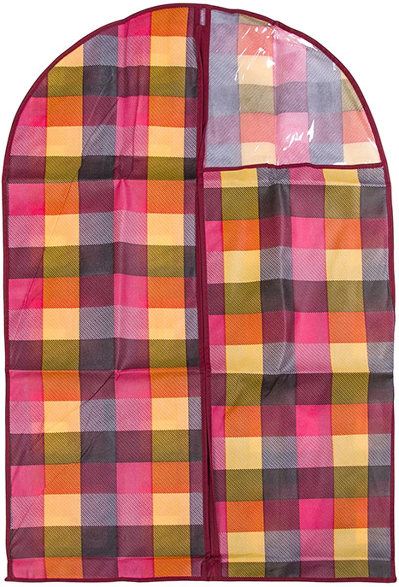 Чехол для одежды подвесной El Casa Яркая клетка, 60 х 100 см370797Чехол для одежды, изготовленный из высококачественного нетканого материала, защитит Вашу одежду от пыли и других загрязнений и поможет надолго сохранить ее безупречный вид. Благодаря особой фактуре чехол не пропускает пыль. Но в то же время позволяет воздуху свободно проникать внутрь, обеспечивая естественную вентиляцию. Материал легок и удобен, не образует складок. Застегивается на молнии. Окошко из пластика позволяет видеть, какие вещи находятся внутри. Размер 60х100см.Чехол для одежды подвесной 60*100 см. EL Casa Яркая клетка на молнии, с прозрачной вставкой