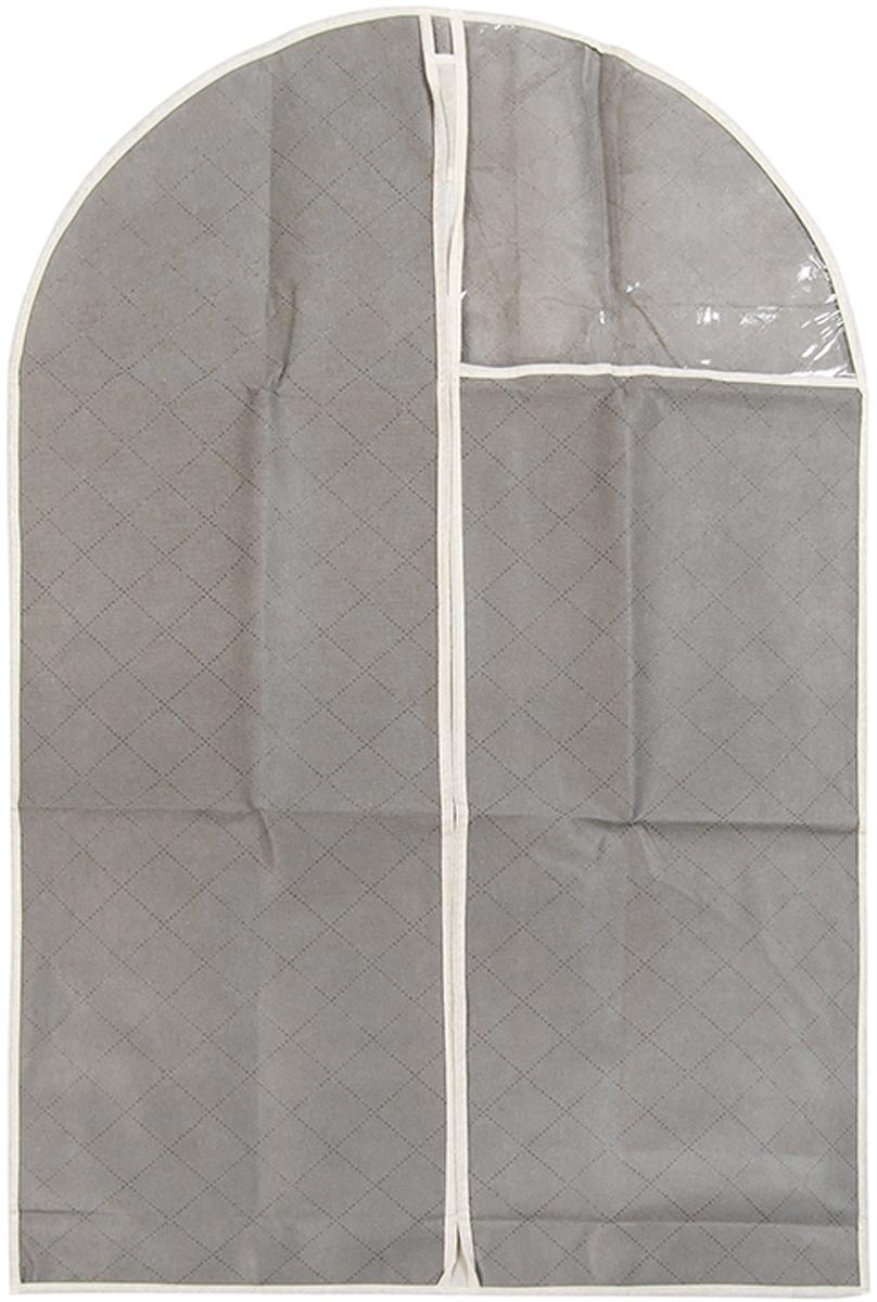 Чехол для одежды подвесной El Casa Геометрия стиля, 60 х 100 см370798Чехол для одежды, изготовленный из высококачественного нетканого материала, защитит Вашу одежду от пыли и других загрязнений и поможет надолго сохранить ее безупречный вид. Благодаря особой фактуре чехол не пропускает пыль. Но в то же время позволяет воздуху свободно проникать внутрь, обеспечивая естественную вентиляцию. Материал легок и удобен, не образует складок. Застегивается на молнии. Окошко из пластика позволяет видеть, какие вещи находятся внутри. Размер 60х100см.Чехол для одежды подвесной 60*100 см. EL Casa Геометрия стиля серебряный, на молнии, с прозрачной вставкой