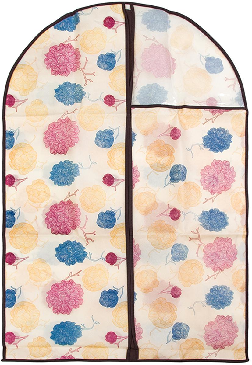 Чехол для одежды El Casa Яркие пионы, подвесной, 60 х 100 см370799Чехол для одежды, изготовленный из высококачественного нетканого материала, защитит вашу одежду от пыли и других загрязнений и поможет надолго сохранить ее безупречный вид. Благодаря особой фактуре чехол не пропускает пыль. Но в то же время позволяет воздуху свободно проникать внутрь, обеспечивая естественную вентиляцию. Материал легок и удобен, не образует складок. Застегивается на молнию. Окошко из пластика позволяет видеть, какие вещи находятся внутри. Размер: 60 х 100 см