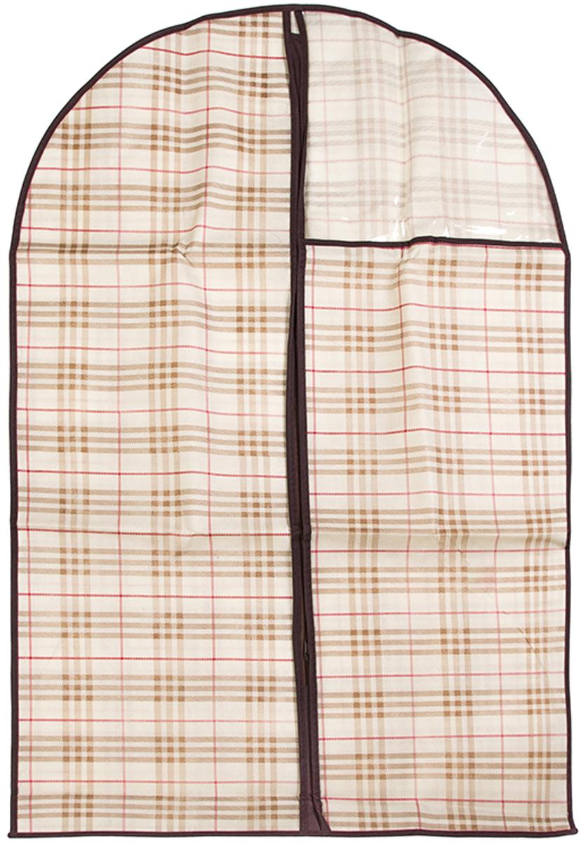 Чехол для одежды подвесной El Casa Шотландская клетка, 60 х 100 см370800Чехол для одежды, изготовленный из высококачественного нетканого материала, защитит Вашу одежду от пыли и других загрязнений и поможет надолго сохранить ее безупречный вид. Благодаря особой фактуре чехол не пропускает пыль. Но в то же время позволяет воздуху свободно проникать внутрь, обеспечивая естественную вентиляцию. Материал легок и удобен, не образует складок. Застегивается на молнии. Окошко из пластика позволяет видеть, какие вещи находятся внутри. Размер 60х100см.Чехол для одежды подвесной 60*100 см. EL Casa Шотландская клетка на молнии, с прозрачной вставкой