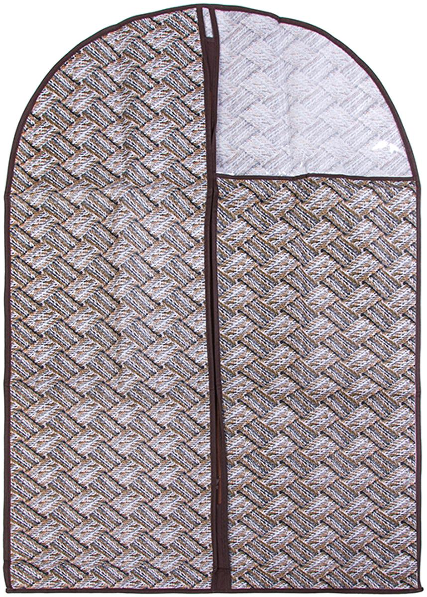Чехол для одежды подвесной El Casa Плетенка, 60 х 100 см370801Чехол для одежды, изготовленный из высококачественного нетканого материала, защитит Вашу одежду от пыли и других загрязнений и поможет надолго сохранить ее безупречный вид. Благодаря особой фактуре чехол не пропускает пыль. Но в то же время позволяет воздуху свободно проникать внутрь, обеспечивая естественную вентиляцию. Материал легок и удобен, не образует складок. Застегивается на молнии. Окошко из пластика позволяет видеть, какие вещи находятся внутри. Размер 60х100см.Чехол для одежды подвесной 60*100 см. EL Casa Плетенка серо - бежевый, на молнии, с прозрачной вставкой