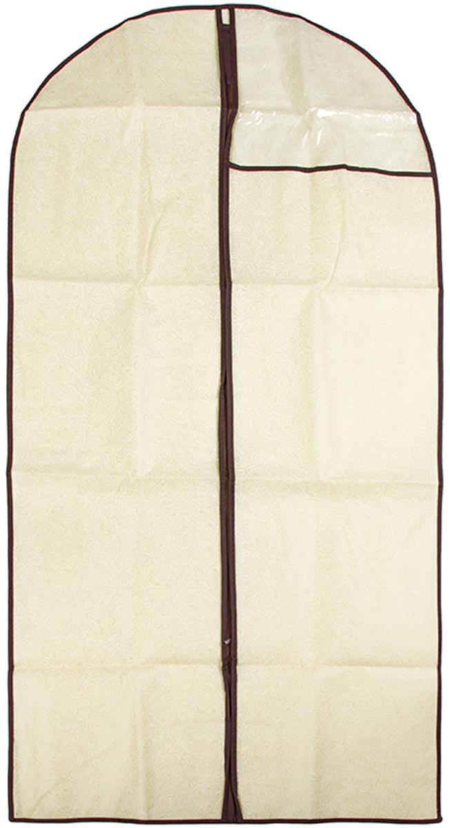 Чехол для одежды подвесной El Casa Цветы на золотом, 60 х 137 см370802Чехол для одежды, изготовленный из высококачественного нетканого материала, защитит Вашу одежду от пыли и других загрязнений и поможет надолго сохранить ее безупречный вид. Благодаря особой фактуре чехол не пропускает пыль. Но в то же время позволяет воздуху свободно проникать внутрь, обеспечивая естественную вентиляцию. Материал легок и удобен, не образует складок. Застегивается на молнии. Окошко из пластика позволяет видеть, какие вещи находятся внутри. Размер 60х137см.Чехол для одежды подвесной 60*137 см. EL Casa Цветы на золотом на молнии, с прозрачной вставкой