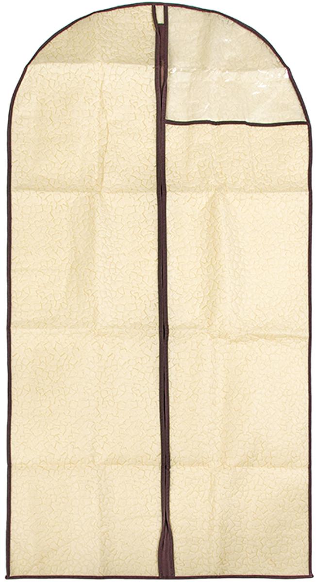 Чехол для одежды подвесной El Casa Песочная мозаика, 60 х 137 см370805Чехол для одежды, изготовленный из высококачественного нетканого материала, защитит Вашу одежду от пыли и других загрязнений и поможет надолго сохранить ее безупречный вид. Благодаря особой фактуре чехол не пропускает пыль. Но в то же время позволяет воздуху свободно проникать внутрь, обеспечивая естественную вентиляцию. Материал легок и удобен, не образует складок. Застегивается на молнии. Окошко из пластика позволяет видеть, какие вещи находятся внутри. Размер 60х137см.Чехол для одежды подвесной 60*137 см. EL Casa Песочная мозаика на молнии, с прозрачной вставкой