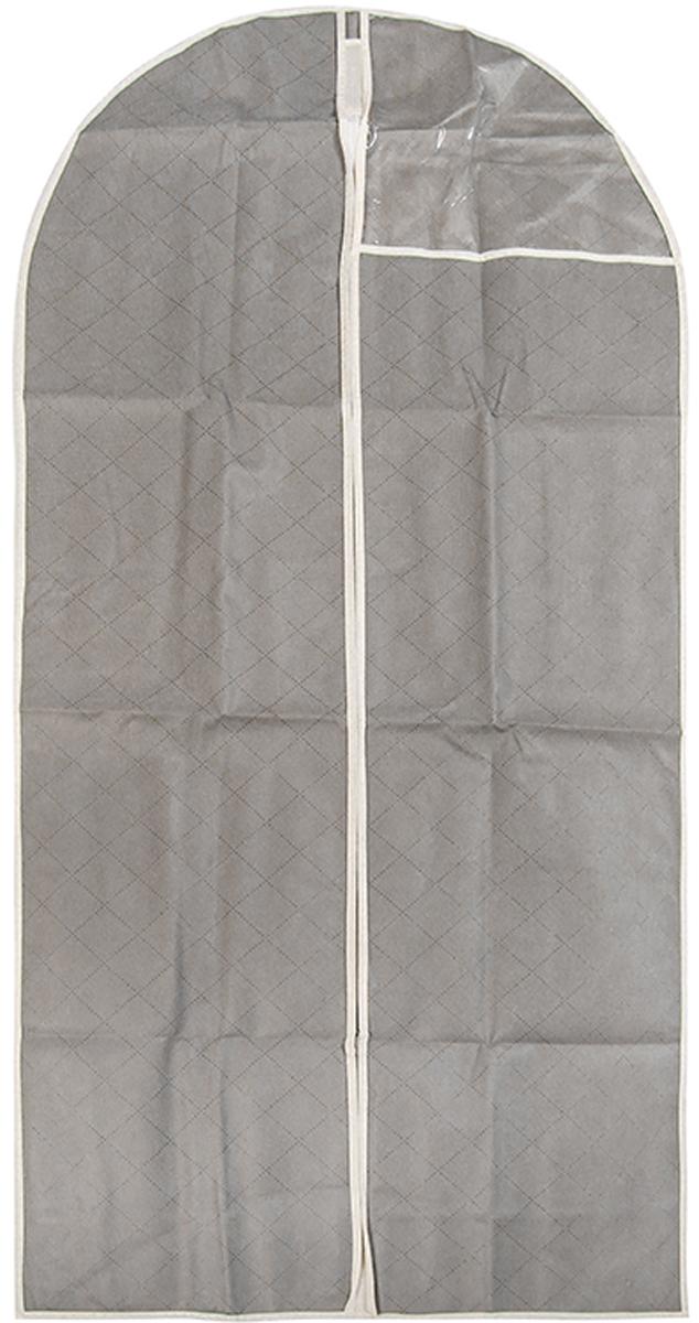 Чехол для одежды подвесной El Casa Геометрия стиля, 60 х 137 см370809Чехол для одежды, изготовленный из высококачественного нетканого материала, защитит Вашу одежду от пыли и других загрязнений и поможет надолго сохранить ее безупречный вид. Благодаря особой фактуре чехол не пропускает пыль. Но в то же время позволяет воздуху свободно проникать внутрь, обеспечивая естественную вентиляцию. Материал легок и удобен, не образует складок. Застегивается на молнии. Окошко из пластика позволяет видеть, какие вещи находятся внутри. Размер 60х137см.Чехол для одежды подвесной 60*137 см. EL Casa Геометрия стиля серебряный, на молнии, с прозрачной вставкой