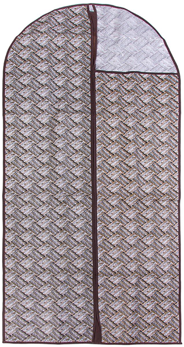 Чехол для одежды подвесной El Casa Плетенка, 60 х 137 см370812Чехол для одежды, изготовленный из высококачественного нетканого материала, защитит Вашу одежду от пыли и других загрязнений и поможет надолго сохранить ее безупречный вид. Благодаря особой фактуре чехол не пропускает пыль. Но в то же время позволяет воздуху свободно проникать внутрь, обеспечивая естественную вентиляцию. Материал легок и удобен, не образует складок. Застегивается на молнии. Окошко из пластика позволяет видеть, какие вещи находятся внутри. Размер 60х137см.Чехол для одежды подвесной 60*137 см. EL Casa Плетенка серо - бежевый, на молнии, с прозрачной вставкой