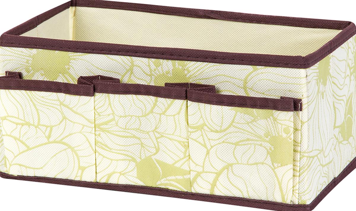 Органайзер для косметики и мелочей El Casa Цветы на бежевом, с 3 карманами, 25 х 15 х 12 см el casa сумка холодильник оранжевые цветы на бежевом