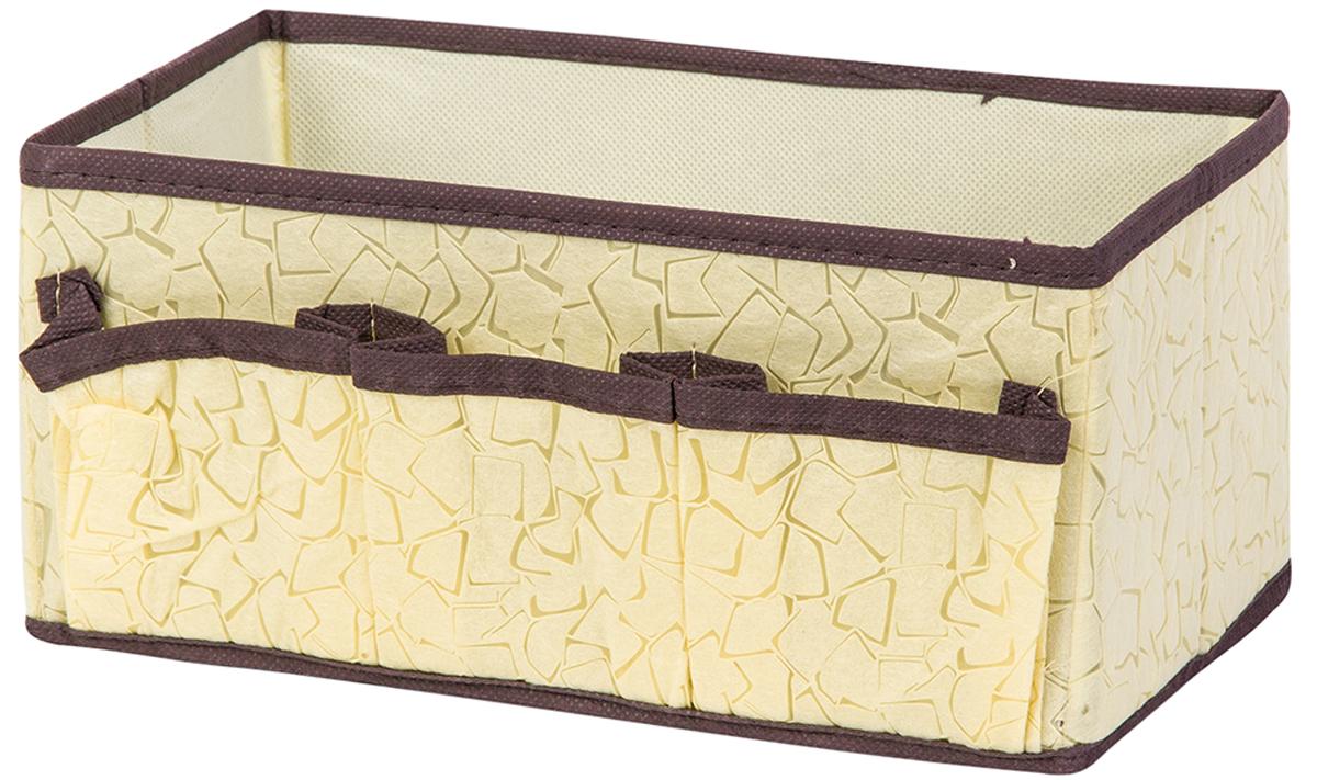 Органайзер для косметики и мелочей El Casa Песочная мозаика, с 3 карманами, 25 х 15 х 12 см370871Удобный и компактный органайзер с 3 карманами с легкостью вместит все необходимые баночки и тюбики. Большое основное отделение можно использовать для кремов, парфюмерии и лаков. Наличие различных кармашков делает возможным хранение декоративной косметики и аксессуаров. Размер 25х15х12 см.Органайзер для косметики/мелочей 25*15*12 см. EL Casa Песочная мозаика с 3 карманами