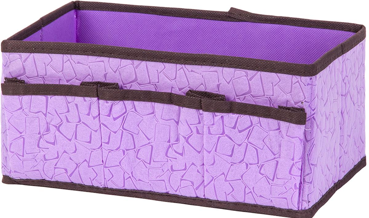 Органайзер для косметики и мелочей El Casa Сиреневая мозаика, с 3 карманами, 25 х 15 х 12 см органайзер для косметики el casa цвет розовый серебристый 20 х 9 х 13 см