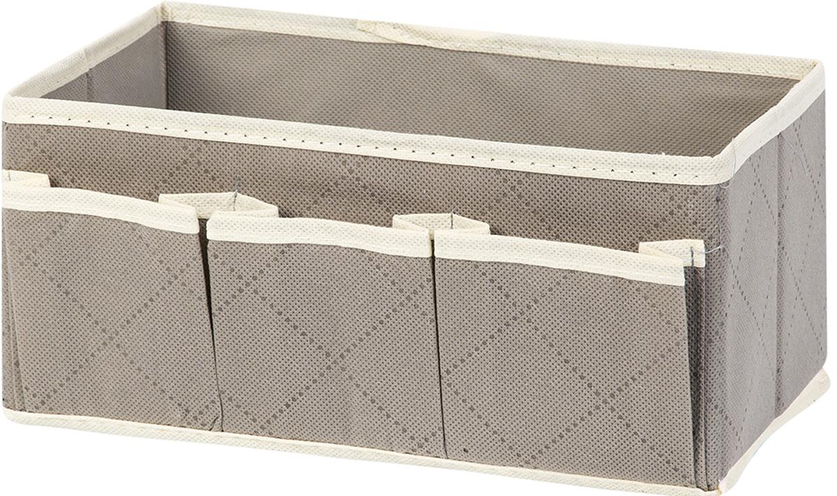 """Удобный и компактный органайзер с 3 карманами El Casa """"Геометрия стиля"""", выполненный из полиэстера, с легкостью вместит все необходимые баночки и тюбики. Большое основное отделение можно использовать для кремов, парфюмерии и лаков. Наличие различных кармашков делает возможным хранение декоративной косметики и аксессуаров. Размер: 25 х 15 х 12 см."""