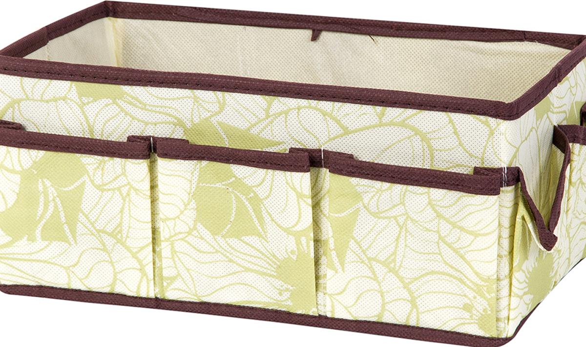 Органайзер для косметики и мелочей El Casa Цветы на бежевом, с 7 карманами, 25 х 15 х 12 см органайзер для косметики el casa цвет розовый серебристый 20 х 9 х 13 см