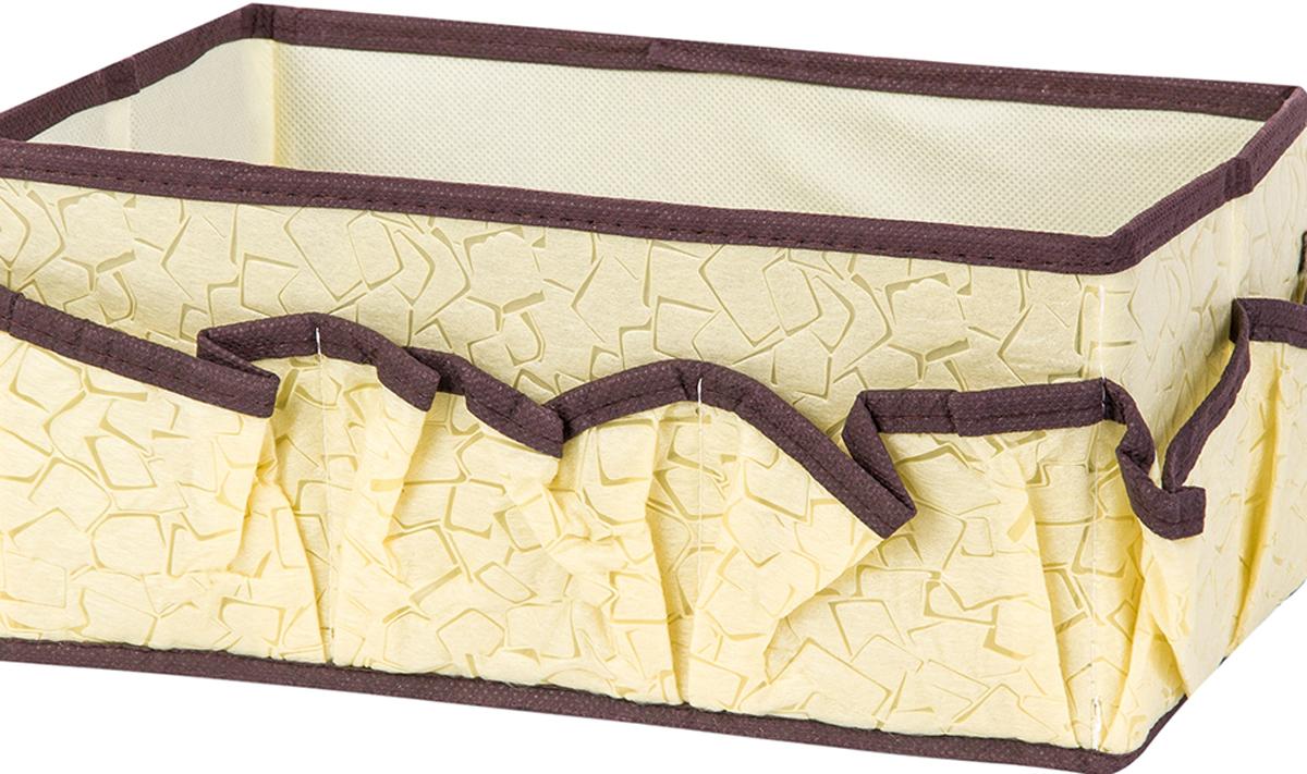 Органайзер для косметики и мелочей El Casa Песочная мозаика, с 7 карманами, 25 х 15 х 12 см370882Удобный и компактный органайзер с 7 карманами с легкостью вместит все необходимые баночки и тюбики. Большое основное отделение можно использовать для кремов, парфюмерии и лаков. Изготовлен из высококачественного нетканого материала. Наличие различных кармашков делает возможным хранение декоративной косметики. Размер 25х15х12 см.Органайзер для косметики/мелочей 25*15*12 см. EL Casa Песочная мозаика с 7 карманами