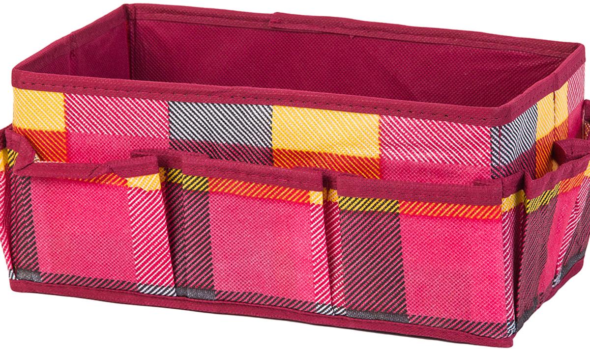 Органайзер для косметики и мелочей El Casa Яркая клетка, с 7 карманами, 25 х 15 х 12 см органайзер для косметики el casa цвет розовый серебристый 20 х 9 х 13 см