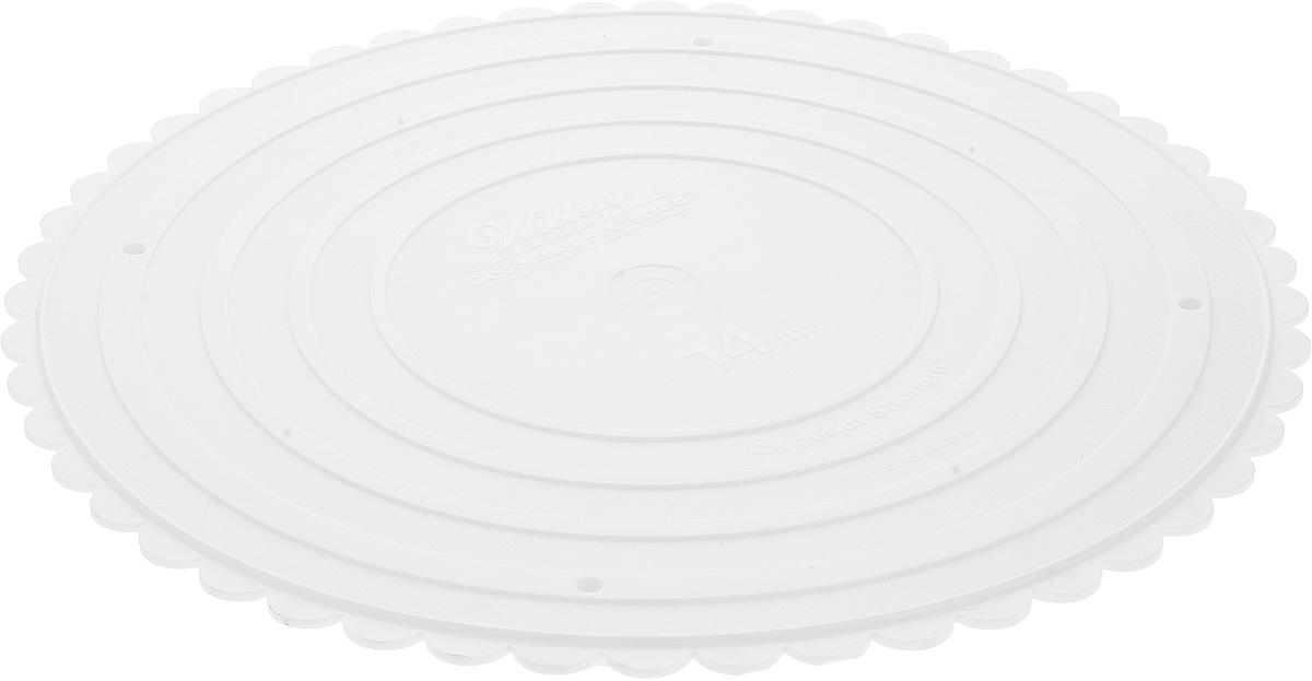 Тарелка под торт Wilton Выбор кондитера, круглая, с волнистым краем, диаметр 36 смWLT-302-14Такие круглые тарелки используются отдельно или для сборки многоуровневого торта. Надежная поддержка, гарантированное качество, красивые фестончатые края. Материал: пластик.