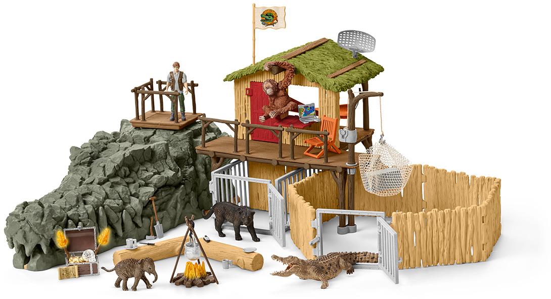 Schleich Набор фигурок Исследовательская станция Croco в джунглях lucky john croco spoon big game mission 24гр 004