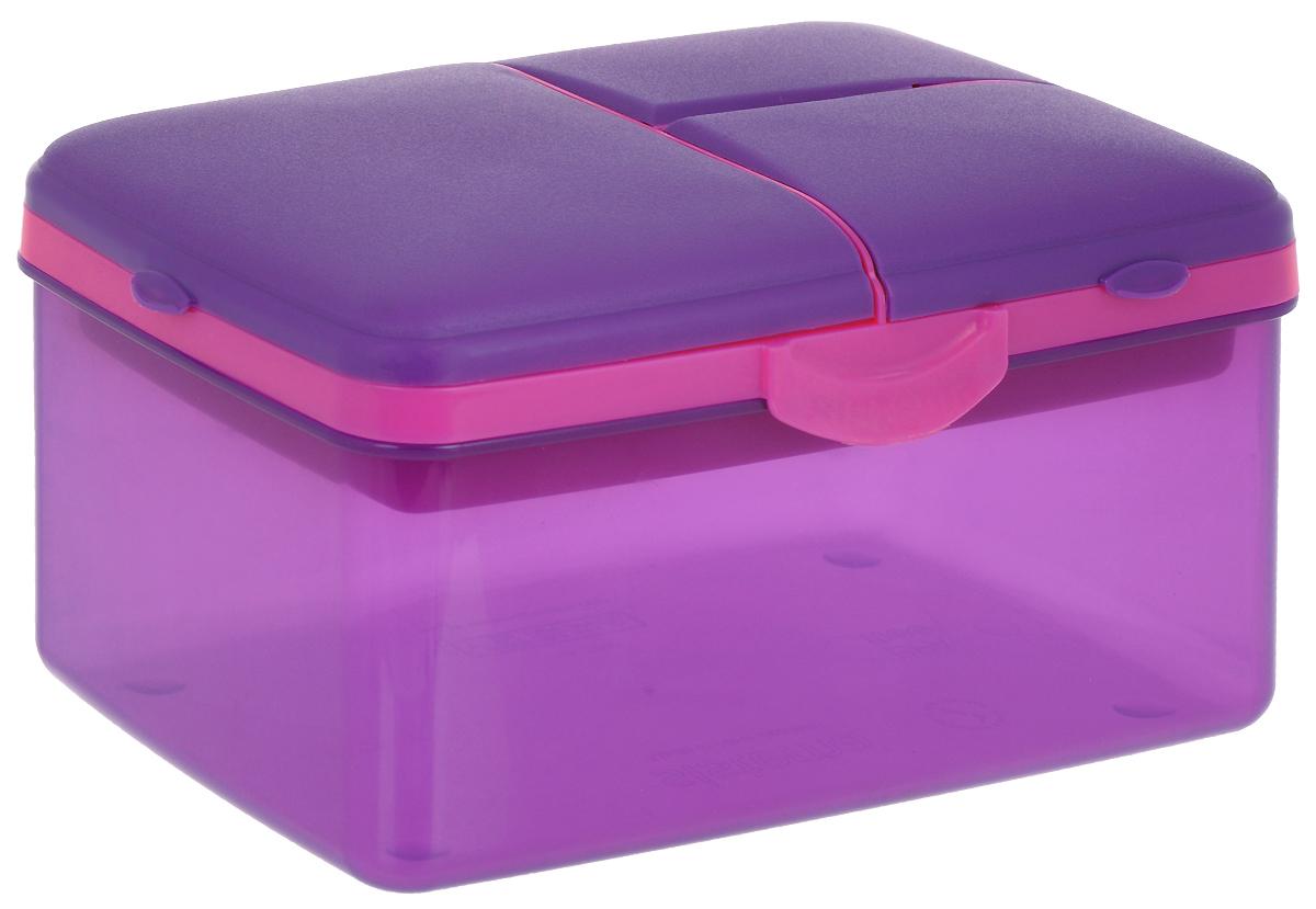 Ланч-бокс Sistema TO-GO, 4 секции, с бутылкой, цвет: фиолетовый, розовый, 2 л3970С6_фиолетовый, розовыйКонтейнер Sistema TO-GO, изготовленный из пластика, имеет 4 отделения для хранения и транспортировки бутербродов, порционных салатов,мяса или рыбы, горячих и холодных блюд. Ланч-бокс для детей и взрослых позволяет взять даже сложный обед, из нескольких блюд, в одномкомпактном контейнере. На крышке имеется силиконовая прокладка, который способствует герметичному закрыванию. Контейнер оснащенфиксирующимися зажимами – клипсами. Удобная маленькая бутылка позволит взять с собой воду или любимый напиток. Ланч-бокс состоит избольшого, среднего и двух маленьких отделений.Размеры контейнера: 21 х 14 х 11,5 Размеры большого отделения: 21 х 13,5 х 8,5 см. Размеры среднего отделения: 12,5 х 10 х 3,5 см. Размеры одного маленького отделения: 9,5 х 6 х 3,5 см. Объем бутылки: 250 мл.