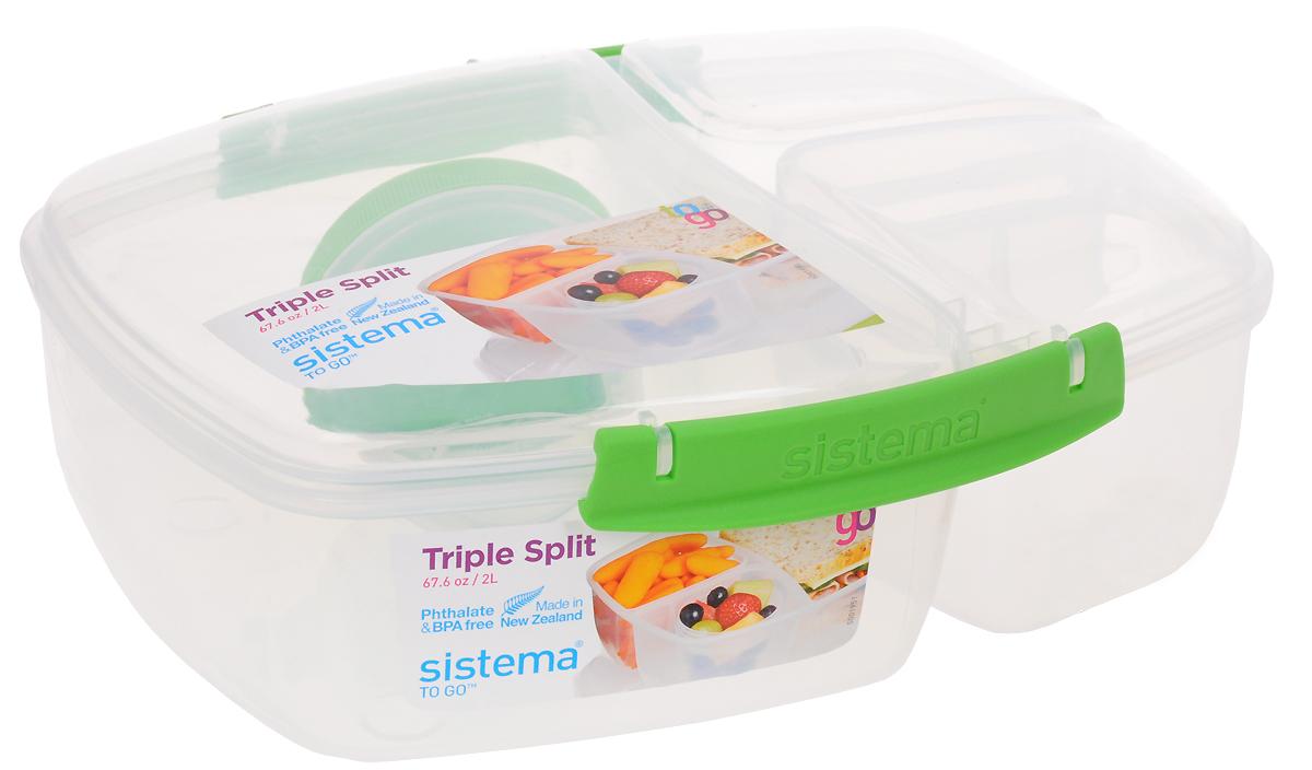 Контейнер пищевой Sistema Lunch, 3-х секционный, с баночкой, цвет: прозрачный, зеленый, 2 л20920_прозрачный, зеленыйКонтейнер пищевой с баночкой Sistema  Lunch выполнен из прочного пищевого пластика. Изделие предназначено для хранения и транспортировки пищи. Внутри содержится одно большое отделение и две небольших секции, а также есть баночка для соуса. Баночка закрывается отдельной закручивающейся крышкой. Контейнер плотно закрывается на защелки. Благодаря силиконовой прослойке он абсолютно герметичен, что поможет дольше сохранить пищу свежей. Изделие можно использовать в микроволновой печи при температуре до 100°С, ставить в холодильник при температуре до -20°С, а также мыть в посудомоечной машине.Размеры: 23 х 19,5 х 8,5 см