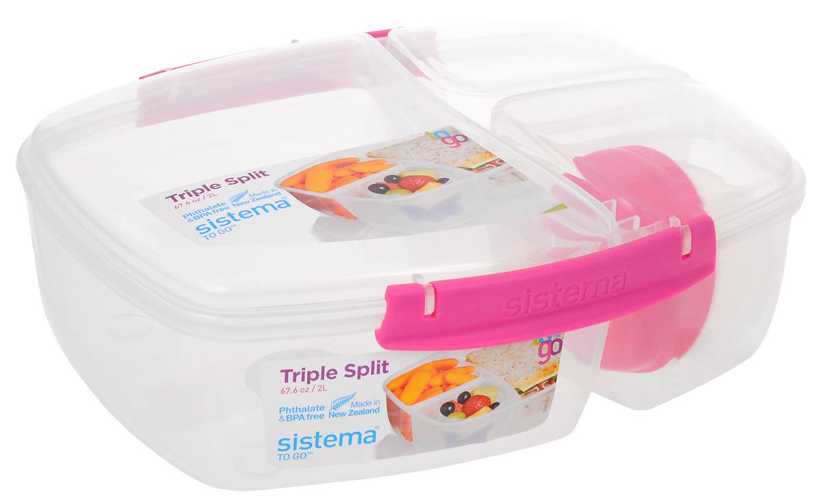 """Контейнер пищевой с баночкой Sistema """" Lunch"""" выполнен из прочного пищевого  пластика. Изделие предназначено для хранения и транспортировки пищи. Внутри  содержится одно большое отделение и две небольших секции, а также есть  баночка для соуса. Баночка закрывается отдельной закручивающейся крышкой.  Контейнер плотно закрывается на защелки. Благодаря силиконовой прослойке он  абсолютно герметичен, что поможет дольше сохранить пищу свежей.  Изделие можно использовать в микроволновой печи при температуре до 100°С,  ставить в холодильник при температуре до -20°С, а также мыть в посудомоечной  машине. Размеры: 23 х 19,5 х 8,5 см"""