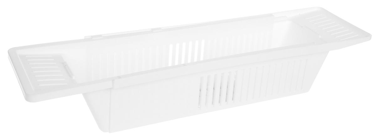Полка для ванны Berossi Toys, цвет: снежно-белый, 79,6 х 15, 1 х 9, 9 смАС 20701000Полка Berossi Toys изготовлена из пластика и предназначена для ванной комнаты. Раздвижная конструкция полки позволяет использовать ее на ванных различной ширины. Изделие удобно использовать под детские игрушки и различные принадлежности для стирки. В комплект входят две перегородки, которыми удобно разделить полку на три отсека. Размеры: 79,6 х 15, 1 х 9, 9 см