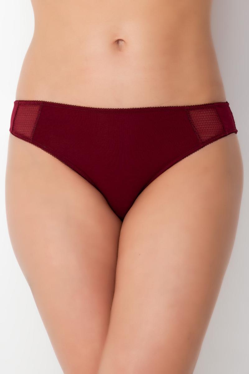 Трусы-бикини женские Vis-A-Vis, цвет: темно-бордовый. DS0800. Размер L (48)DS0800Трусы слипы из нежного модала. Модель дополнена ажурной сеткой, что придает изделию дополнительный шарм.