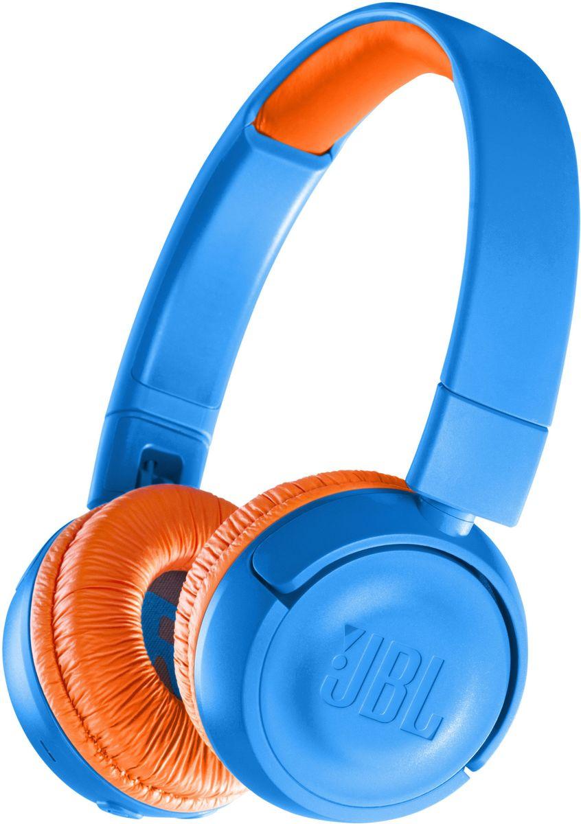 JBL JR300BT, Blue Orange наушникиJBLJR300BTUNOБезопасные и легкие беспроводные наушники JBL JR300BT позволяют 12 часов наслаждаться легендарным звучанием JBL и подходят даже для самых маленьких музыкальных фанатов. Эти наушники следят за тем, чтобы громкость не превышала 85 дБ для защиты слуха, а удобные средства управления можно использовать без посторонней помощи. Благодаря специальным амбушюрам и обручу с мягкой подкладкой дети смогут с комфортом наслаждаться любимой музыкой. Детям также понравится возможность украсить их наушники приложенными наклейками.