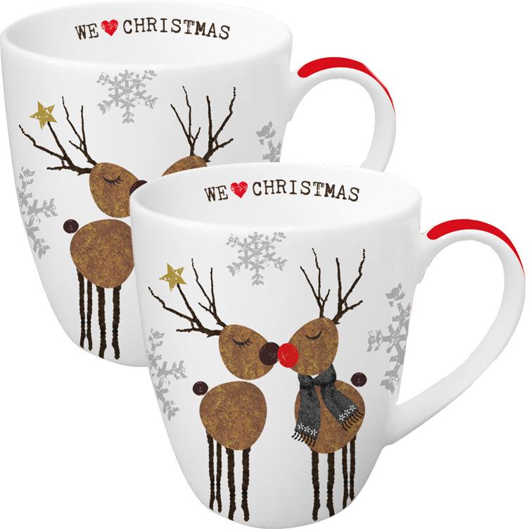 Набор кружек Paperproducts Design We love Christmas, 350 мл, 2 шт602925Красивый и в то же время функциональный сувенир - это прекрасный вариант рождественского подарка друзьям или близким людям. Набор из двух вместительных чашек как нельзя лучше подойдет на эту роль.Чашки выполнены из белого фарфора с нанесением яркого цветного изображения в виде двух забавных рождественских оленей. Объем каждой чашки составляет 350 мл, поэтому они прекрасно подойдут для горячего ароматного чая, кофе американо и прочих любимых напитков. Набор предлагается в красивой подарочной картонной коробке и идентичным дизайном.