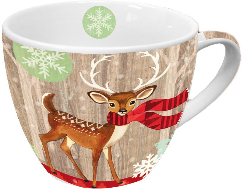 Кружка Paperproducts Design Deer with Scarf, 450 мл602964Яркая большая кружка будет прекрасным рождественским подарком для друзей, а также родных и близких людей. Это не только красивый, но и функциональный подарок, который не оставит равнодушным даже самого взыскательного любителя ароматного чая.Модель выполнена из высококачественного фарфора, благодаря чему прекрасно подойдет для использования в микроволновой печи и посудомоечной машине. Кружка имеет большой объем – 450 мл, поэтому подходит для чая, пунша, морса и других любимых напитков. Отличительная особенность – это красочный принт в виде оленя с шарфом. К кружке прилагается подарочная коробка с идентичным дизайном.