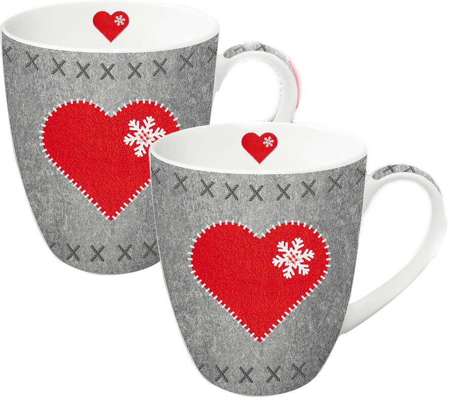 Набор кружек Paperproducts Design Felt Heart, 350 мл, 2 шт603176Красивый и в то же время функциональный сувенир - это прекрасный вариант рождественскогоподарка друзьям или близким людям. Набор из двух вместительных чашек как нельзя лучшеподойдет на эту роль. Чашки выполнены из белого фарфора с нанесением яркого рисунка с праздничным сюжетом.Объем каждой чашки составляет 350 мл, поэтому они прекрасно подойдут для горячегоароматного чая, кофе американо и прочих любимых напитков.Набор предлагается в красивой подарочной картонной коробке с идентичным дизайном.