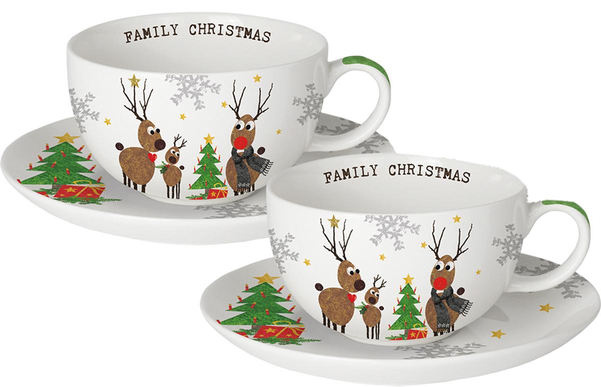 Набор чашек для капучино Paperproducts Design Family Christmas, 4 предмета603224Набор чашек для капучино оценят любители этого вкусного напитка. Яркий новогодний принт соленями вносит разнообразие и свежие нотки в серую повседневность. Комплект состоит из двухчашек с блюдцами. Объем каждой чашки составляет 200 мл, блюдца имеют диаметр 15,5 см. Пригоден дляиспользования в микроволновой печи и посудомоечной машине.