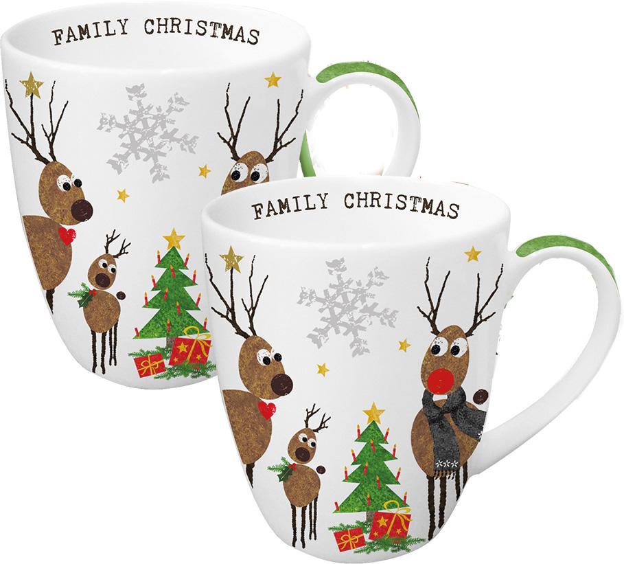 Набор кружек Paperproducts Design Family Christmas, 350 мл, 2 шт603225Красивый и в то же время функциональный сувенир – это прекрасный вариант рождественского подарка друзьям или близким людям. Набор из двух вместительных чашек как нельзя лучше подойдет на эту роль.Чашки выполнены из белого фарфора с нанесением яркого рисунка с праздничным сюжетом. Объем каждой чашки составляет 350 мл, поэтому они прекрасно подойдут для горячего ароматного чая, кофе американо и прочих любимых напитков. Набор предлагается в красивой подарочной картонной коробке с идентичным дизайном.