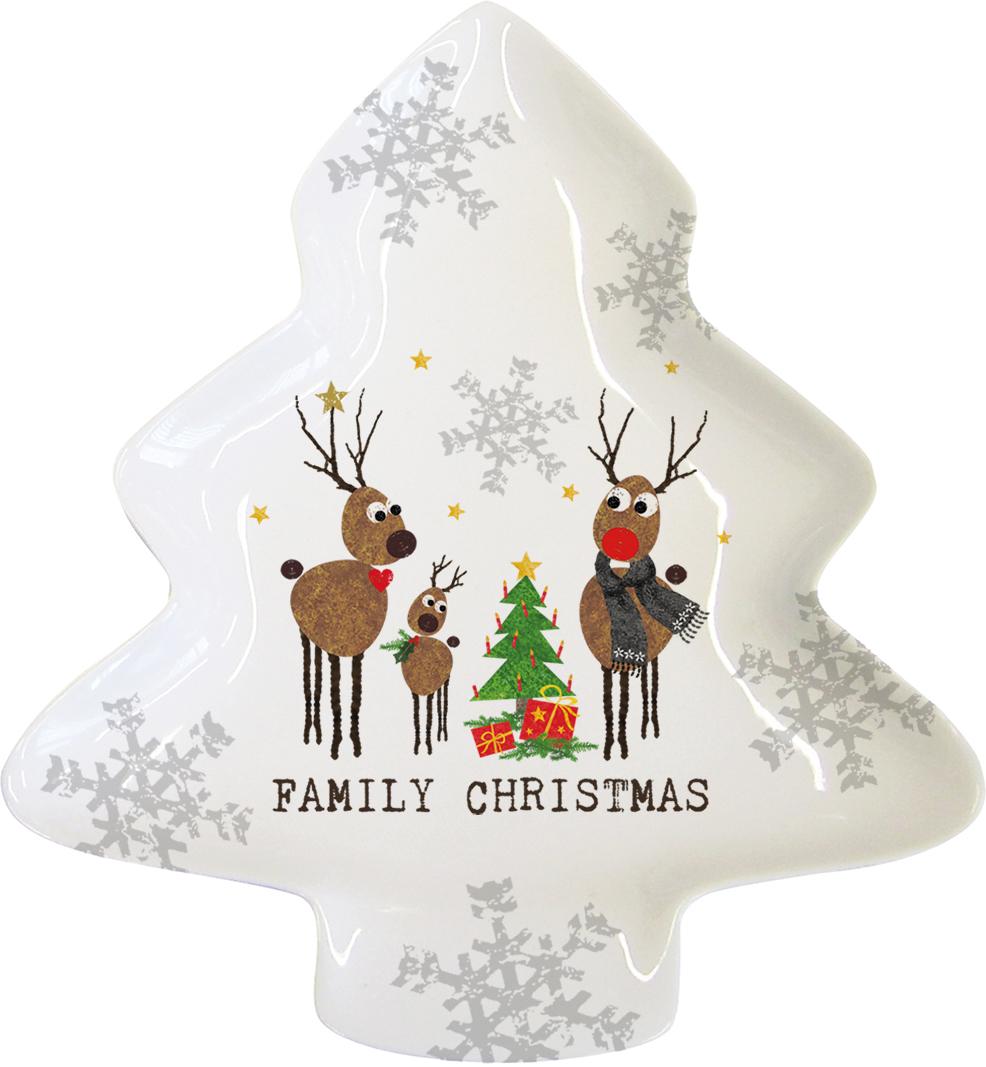 Тарелка Paperproducts Design Family Christmas, большая603226Красивая тематическая тарелка в форме елки станет главным украшением вашего рождественского стола. Ее креативный дизайн, необычная форма и яркий принт в виде семьи рождественских оленей не оставит равнодушным ни одного гостя.Тарелка изготовлена из высококачественного фарфора, благодаря чему ее можно использовать для микроволновой печи, а также мыть в посудомоечной машине. Тарелку можно использовать для подачи холодных или горячих закусок, а также для тортов, пирожных и других любимых сладостей.