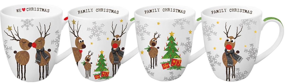 Набор кружек Paperproducts Design Family Christmas, 4 шт, 350 мл603227Набор из четырех ярких креативных кружек как нельзя лучше подойдет в качестве подарка на рождество близкому человеку. Набор выполнен в едином стилевом решении, и предлагается в удобной картонной упаковке с ручкой, которая имеет идентичный кружкам дизайн.Кружки изготовлены из прочного высококачественного фарфора, благодаря чему их можно использовать в качестве посуды для микроволновой печи, а также они прекрасно подходят для посудомоечной машины.