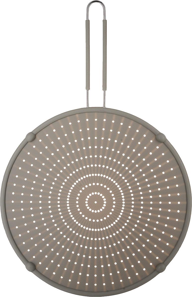 Охранное сито прекрасно подходит в качестве защиты плиты и кухонного стола от загрязнения при жарке на сильном огне в сковороде. Сито изготовлено из термостойкого силикона, каркас и ручка из металла. Оно универсально, подходит для всех обычных типов сковородок диаметром от 18 до 30 см.