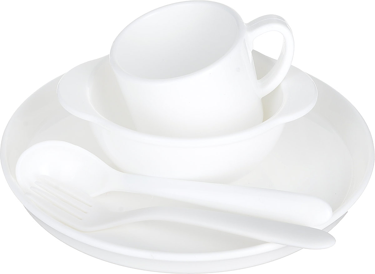 Набор детской посуды Dosh Home Amila Kids, цвет: белый. 400210400210Детский набор посуды сочетает в себе изысканный дизайн с максимальной функциональностью. В набор входят миска, тарелка, кружка, вилка, ложка. Предметы набора выполнены из высококачественного силикона. Набор упакован в красочную, подарочную упаковку.Силикон не впитывает запах и вкус продуктов, устойчив к царапинам. Подходит для микроволновой печи, холодильника. Можно мыть в посудомоечной машине. Мыть обычными моющими средствами, не использовать агрессивные вещества, металлические мочалки, острые предметы и т.д.
