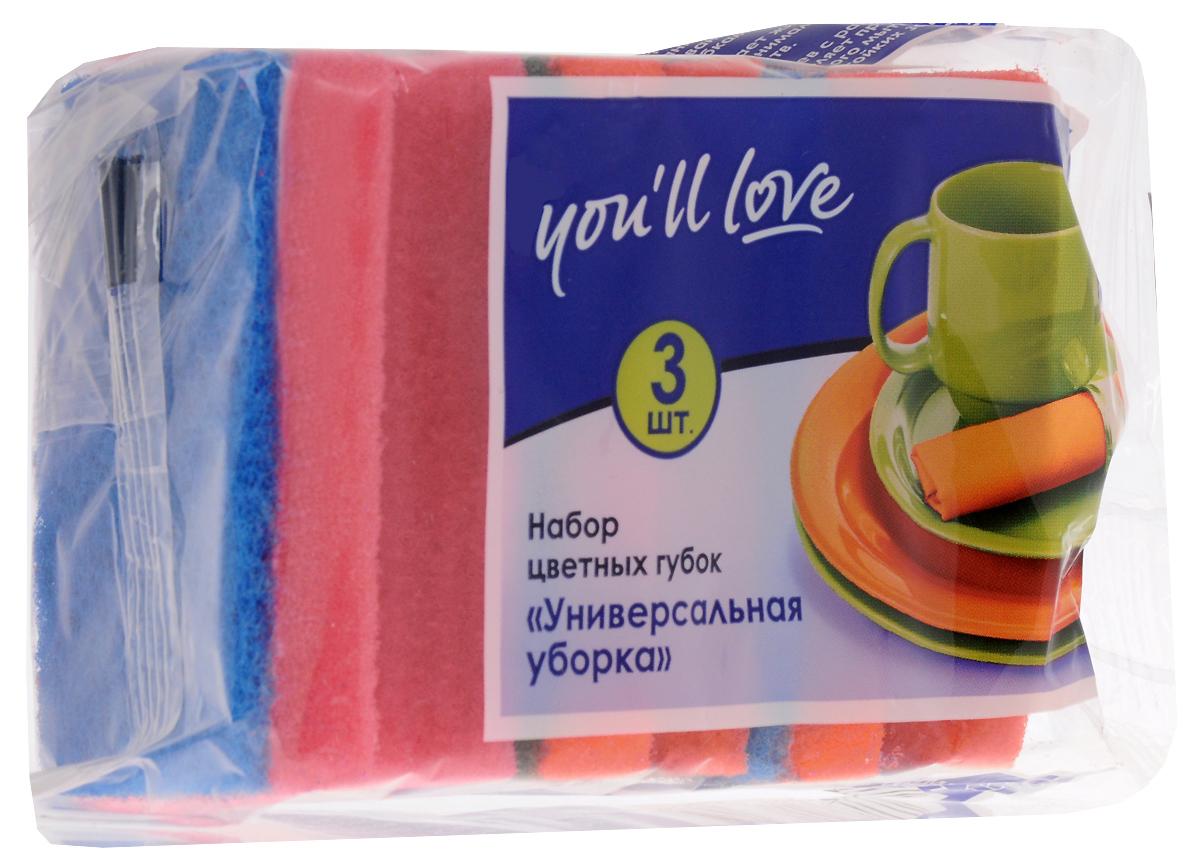 Набор губок для мытья посуды Youll love Универсальная уборка, цвет: оранжевый, красный, 3 шт66617_оранжевый, красныйГубки Youll love Универсальная уборка выполнены из поролона и оснащены абразивным слоем. Мягкий слой используется для деликатной чистки, жесткий абразивный - для сильных загрязнений. Специальная форма губки обеспечивает комфорт во время использования. Абразивный слой не рекомендуется применять для деликатных поверхностей и посуды с тефлоновым покрытием. Размер губки: 8,5 х 6,5 х 3,6 см.