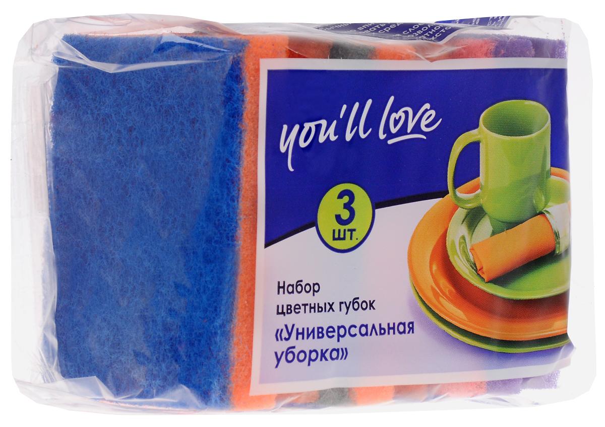 Набор губок для мытья посуды Youll love Универсальная уборка, цвет: оранжевый, фиолетовый, 3 шт66617_оранжевый, фиолетовыйГубки Youll love Универсальная уборка выполнены из поролона и оснащены абразивным слоем. Мягкий слой используется для деликатной чистки, жесткий абразивный - для сильных загрязнений. Специальная форма губки обеспечивает комфорт во время использования. Абразивный слой не рекомендуется применять для деликатных поверхностей и посуды с тефлоновым покрытием. Размер губки: 8,5 х 6,5 х 3,6 см.