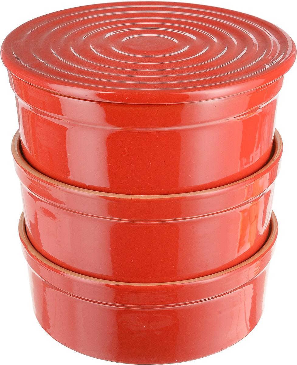 Набор столовой посуды Борисовская керамика Белогорье, цвет: красный, 4 предмета, 3 л набор столовой посуды борисовская керамика на троих цвет синий белый 4 предмета