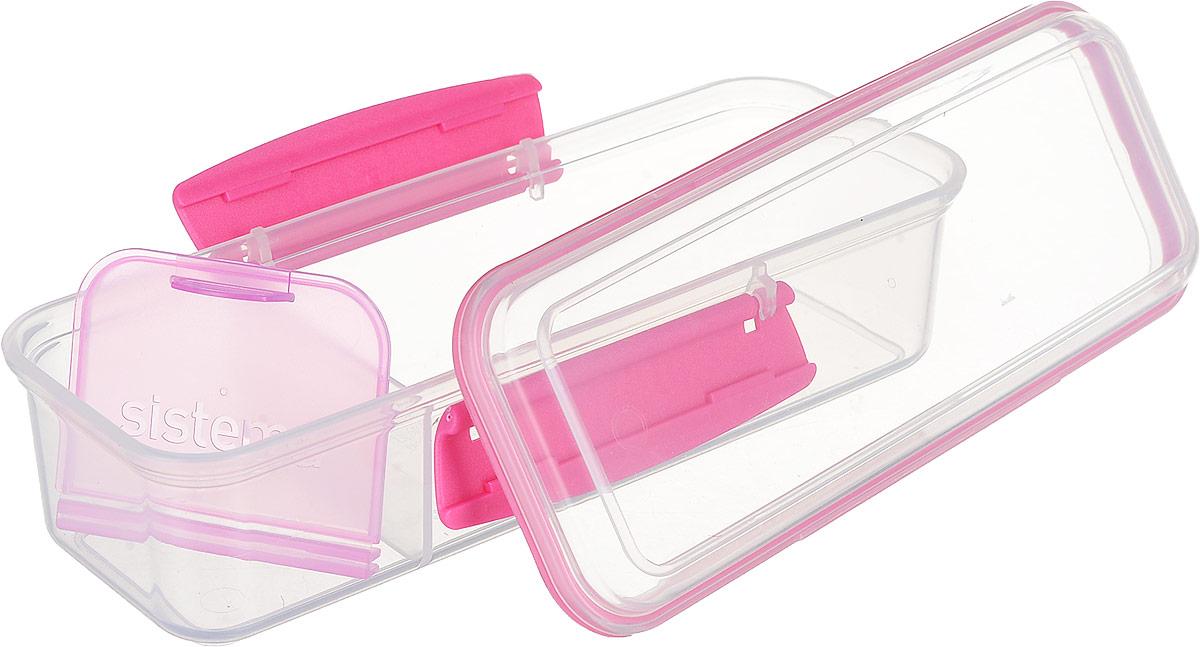 Контейнер пищевой Sistema To-Go, с разделителем, цвет: фуксия, 410 мл21479_прозрачный, розовыйКонтейнер Sistema To-Go отлично подходит для тех, кто зачастую перекусывает на работе или в дороге. Два отделения для продуктов позволяют не перемешивать их. Эко-пластик, из которого выполнен контейнер, безопасен для здоровья, так как не содержит фенола и примесей. Оригинальный дизайн клипс гарантирует надежность крепления, а уплотнитель в крышке сохраняет свежесть и аромат продуктов. Можно мыть в посудомоечной машине.Общий размер контейнера (по верхнему краю): 19 х 7 смВысота контейнера (с учетом крышки): 6 смРазмер меньшего отделения (по верхнему краю): 6 х 7 смРазмер большего отделения (по верхнему краю): 13 х 7 см