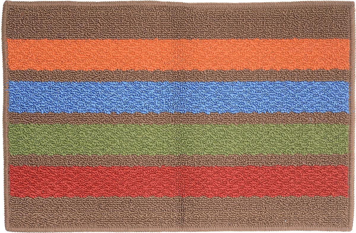 Коврик придверный Vortex Barcelona, цвет: коричневый, мультиколор, 38 х 58 см22427_коричневый, оранжевый, синий, зеленый, красныйКоврик Vortex Barcelona предназначен для ванной комнаты. Коврик обладает отличными влаговпитывающими свойствами. Основа из ПВХ обеспечивает надежную фиксацию и предотвращает скольжение коврика по гладкой поверхности, а также защищает напольное покрытие от накопившейся влаги.