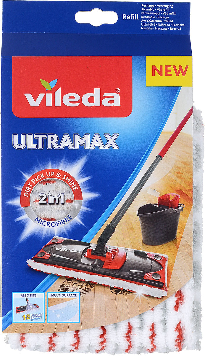 Насадка сменная Vileda Ultra Max, для швабры, цвет: белый, серый, красный4023103201262_белый, серый, красныйСменная насадка Vileda Ultra Max, изготовленная из микроволокна, предназначена для мытья всех типов напольных покрытий, в том числепаркета и ламината. Она станет незаменимым атрибутом любой уборки. Волокнистая поверхность позволяет уменьшить количество чистящихсредств, эффективно моет, не оставляя разводов.Можно стирать в стиральной машине. Характеристики:Материал:микрофибра (полиэстер), полипропилен, пластик Длина насадки (без учета кнопок): 36 см.Ширина насадки: 14 см.