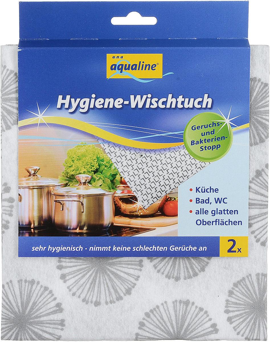 Салфетка гигиеническая Aqualine для уборки, с наносеребром, 2 шт2159_кругиГигиеническая салфетка Aqualine эффективно удаляет любые загрязнения, обеспечивая эффективную защиту от бактерий на кухне, в ванной, туалете и любых гладких поверхностях. Она изготовлена из вискозы и полиэстера с наносеребром. Механизм действия: развитие бактерий предотвращается барьером из ионов серебра и препятствует образованию неприятного запаха. Салфетка не теряет антибактериальных свойств даже после многократного применения. Стирать при температуре не выше 60 С.