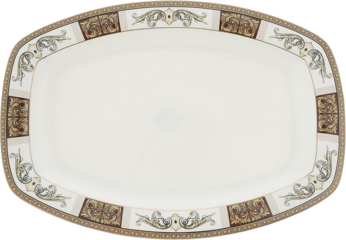 Блюдо Royal Aurel Антик, прямоугольное, длина 33,5 см1812/1Антик блюдо прямоугольное 1 шт. Материал: костяной фарфор. Фарфор Royal Aurel отличается исключительной белизной, что объясняется уникальными компонентами и традиционной технологией, по которой он был изготовлен. Белая глина из провинции Фуцзянь и традиционные рецепты китайских мастеров создают неповторимую композицию. Дизайн коллекций выполнен в соответствии с актуальными европейскими тенденциями.