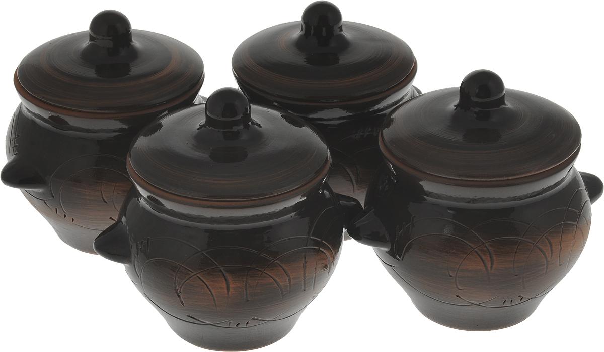 Набор горшочков для запекания Борисовская керамика Старина, 500 мл, 4 штСТР00000077Набор 4 горшка для жаркого №5 с ручками (П) СТР00000077. Материал: Керамика. Объем: 0,55