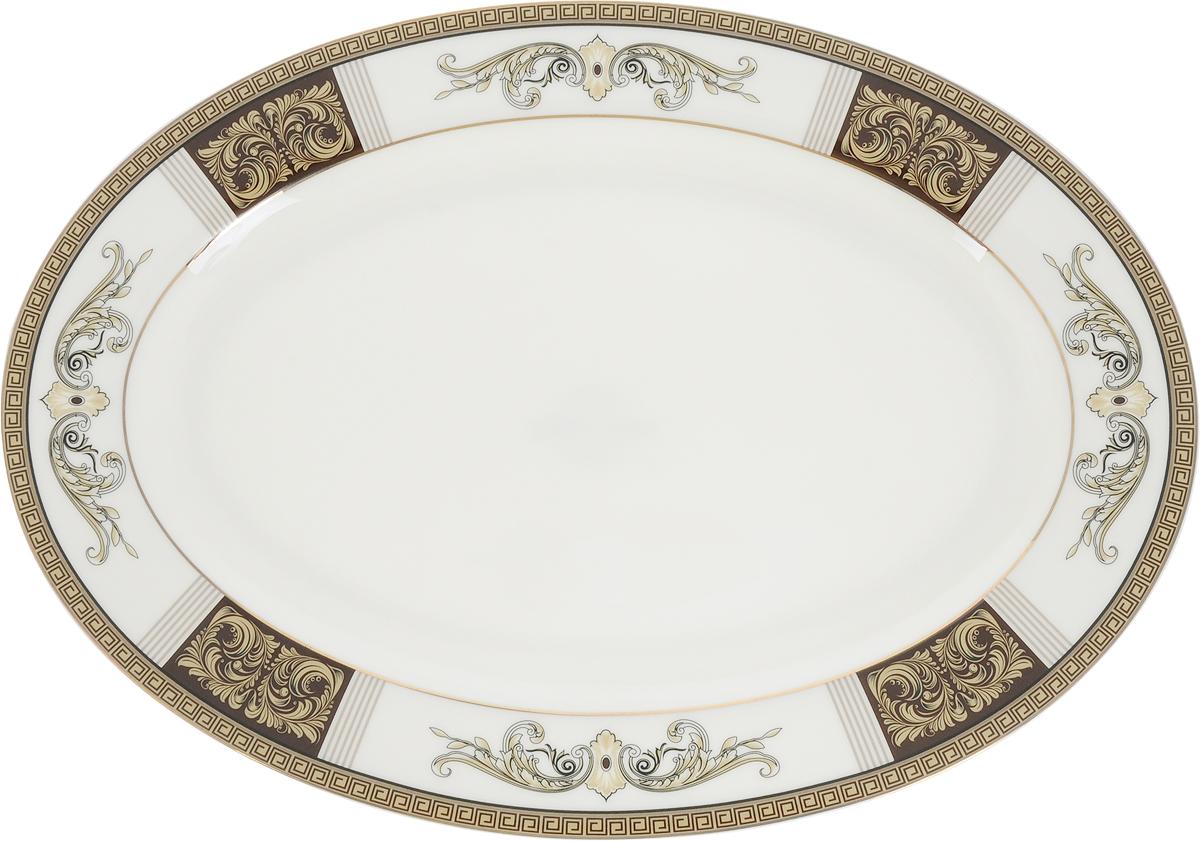 """Блюдо Royal Aurel """"Антик"""", изготовленное из костяного фарфора, станет достойным  украшением вашего стола. Оно предназначено для красивой сервировки стола.  Изящный  дизайн придется по вкусу и ценителям классики, и тем, кто предпочитает утонченность и  изысканность.   Размеры: 31 х 22 х 3,5 см."""