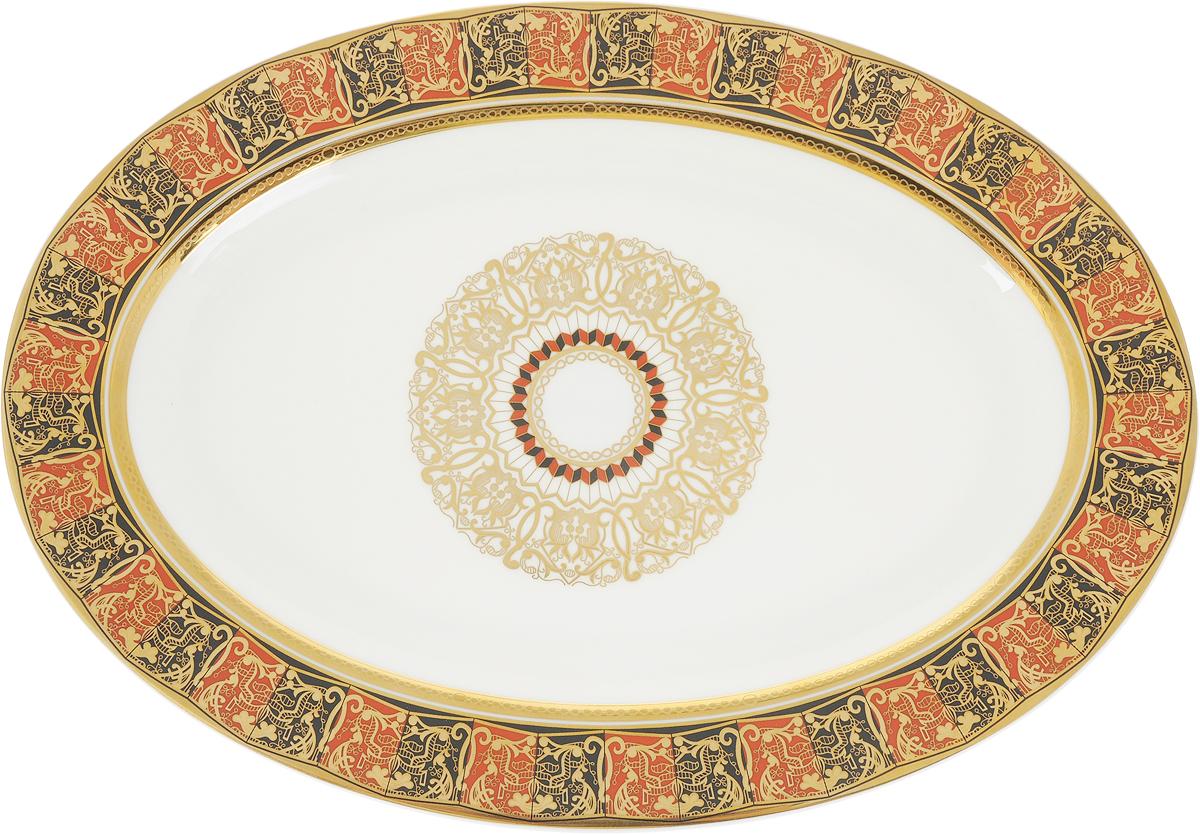 """Блюдо Royal Aurel """"Дерби"""", изготовленное из костяного фарфора, станет достойным  украшением вашего стола. Оно предназначено для красивой сервировки стола.  Изящный  дизайн придется по вкусу и ценителям классики, и тем, кто предпочитает утонченность и  изысканность.  Размеры: 31 х 22 х 3,5 см."""