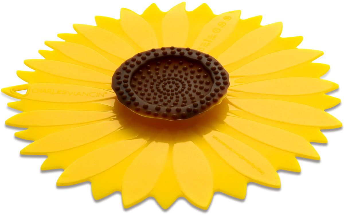 Крышка Charles Viancin Sunflower. Диаметр 20 см1103Крышка герметична, привлекательна по дизайну и функциональна. Ее можно использовать в процессе приготовления пищи на плите, в микроволновой печи и в духовом шкафу. Подходит для посудомоечной машины. Можно использовать в холодильнике. Закроет любую емкость с гладкими ободом.