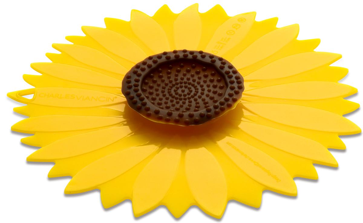 Крышка Charles Viancin Sunflower. Диаметр 15 см1104Крышка герметична, привлекательна по дизайну и функциональна. Ее можно использовать в процессе приготовления пищи на плите, в микроволновой печи и в духовом шкафу. Подходит для посудомоечной машины. Можно использовать в холодильнике. Закроет любую емкость с гладкими ободом.
