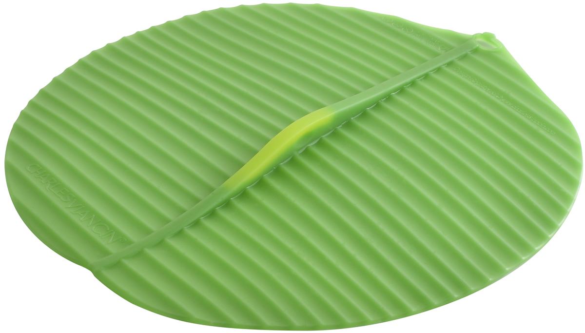 Крышка Charles Viancin Banana Leaf, цвет: зеленый. Диаметр 28 см1404Крышка герметична, привлекательна по дизайну и функциональна. Ее можно использовать в процессе приготовления пищи на плите, в микроволновой печи и в духовом шкафу. Подходит для посудомоечной машины. Можно использовать в холодильнике. Закроет любую емкость с гладким ободом.