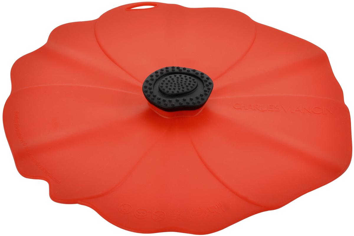 Крышка Charles Viancin Poppy, цвет: красный. Диаметр 23 см2902Крышка герметична, привлекательна по дизайну и функциональна. Ее можно использовать в процессе приготовления пищи на плите, в микроволновой печи и в духовом шкафу. Подходит для посудомоечной машины. Можно использовать в холодильнике. Закроет любую емкость с гладким ободом.