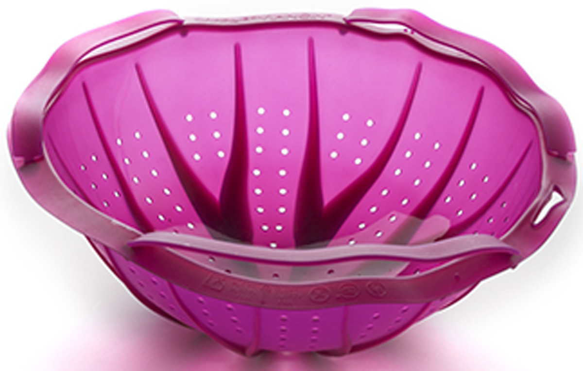 Дуршлаг-пароварка Charles Viancin Cabbage, цвет: фиолетовый, диаметр 20 см4501Дуршлаг-пароварка Charles Viancin Cabbage используется в качестве пароварки, дуршлага, сита. Изделие выполнено из силикноа. Благодаря гибкому корпусу дуршлаг складывается и занимает мало места при хранении.Силикон не впитывает запахи, не остается пятен. Диаметр: 20 см.