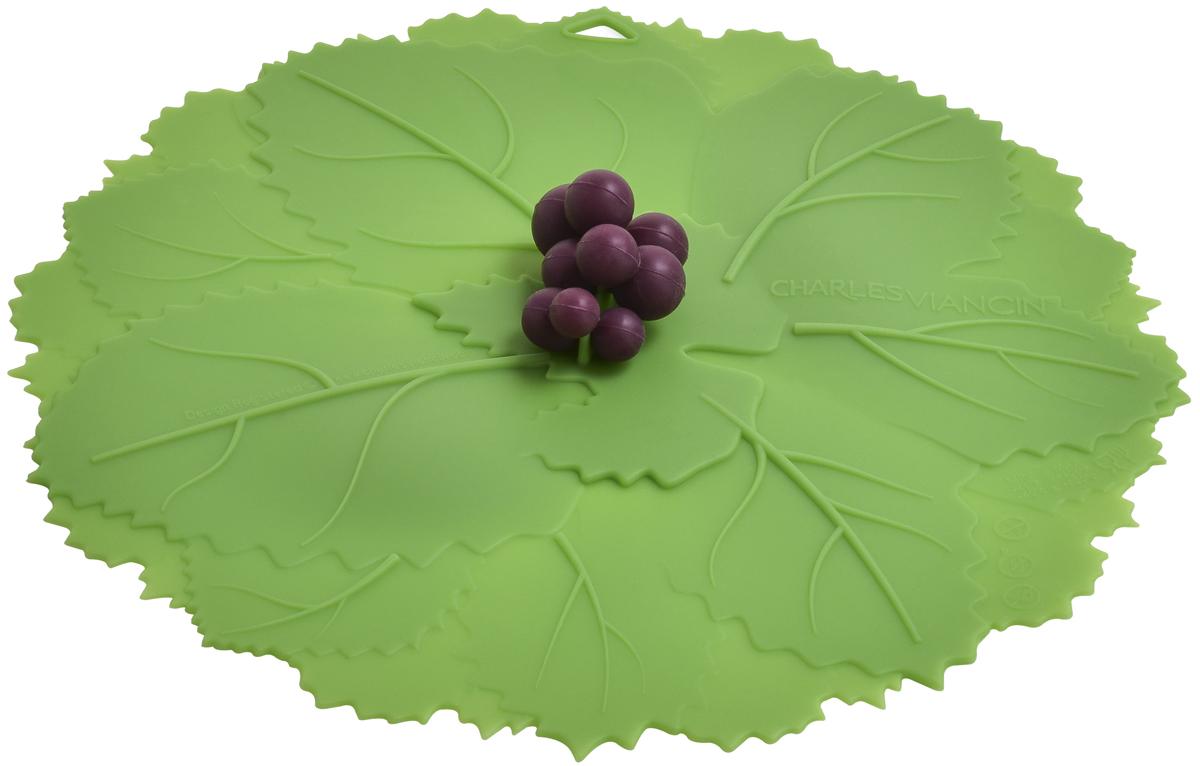 Крышка Charles Viancin Grape, цвет: зеленый. Диаметр 23 см1403Крышка герметична, привлекательна по дизайну и функциональна. Ее можно использовать в процессе приготовления пищи на плите, в микроволновой печи и в духовом шкафу. Подходит для посудомоечной машины. Можно использовать в холодильнике. Закроет любую емкость с гладким ободом.